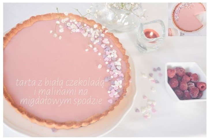 tarta z białą czekoladą i malinami - migdałowy spód